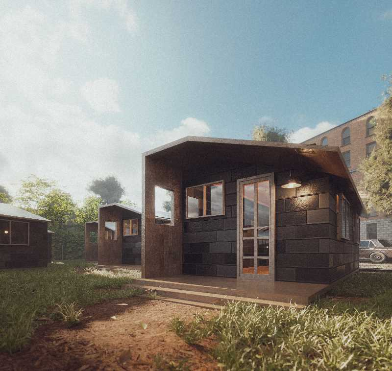COURTESY RENDERING: CHARLIE ABRAMS/RECYCLED LIVING - Charlie Abrams started the non-profit Recycled Living to build tiny homes for the homeless, which he designed himself. As well as a climate activist he is a self-taught animator and engineer.