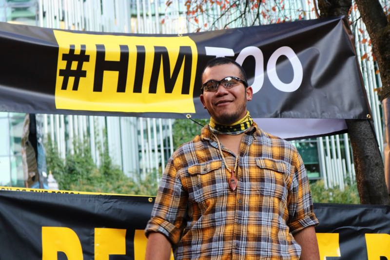 PMG PHOTO: ZANE SPARLING - Tusitala 'Tiny' Toese has been a frequent flyer at Portland protests, including at a 'HimToo' rally organized in November, 2018.