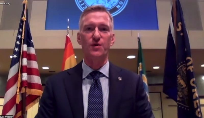 COURTESY SCREENSHOT: CITY OF PORTLAND - Mayor Ted Wheeler during Friday's press conference.