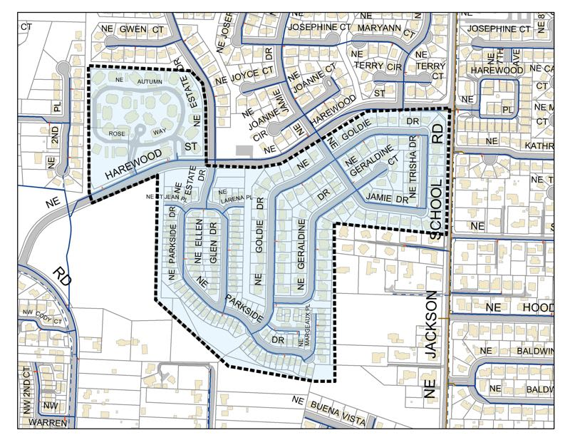 COURTESY MAP: CITY OF HILLSBORO - A map shows an area of the Jackson School neighborhood of Hillsboro where water customers are being directed to boil tap water until further notice after an emergency water leak repair caused a loss of water pressure in the area Friday, Sept. 17.