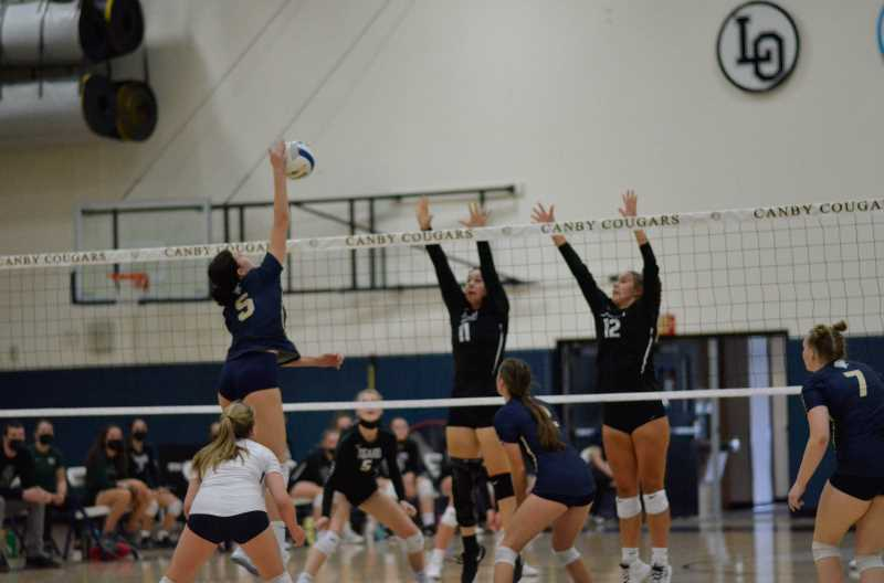COURTESY PHOTO: SARAH OLIVER - Chloe Annas sends the ball to the Tigard side Sept. 9. During the match, she recorded 12 kills.