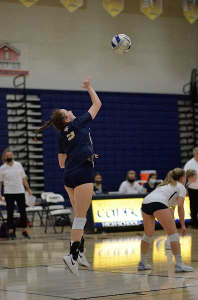 COURTESY PHOTO: SARAH OLIVER - Atalie Leder serves the ball during the Tigard matchup, during which she recorded six aces.