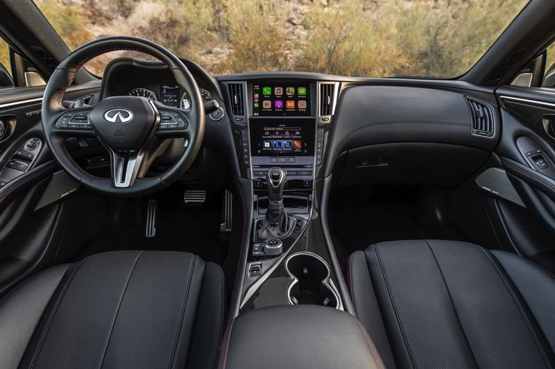 COURTESY PHOTO: INFILITY - The interior of the Infiniti Q60 meets all luxury standards and comes standard with dual stacked display screens that provide a wealth of infotainment features.