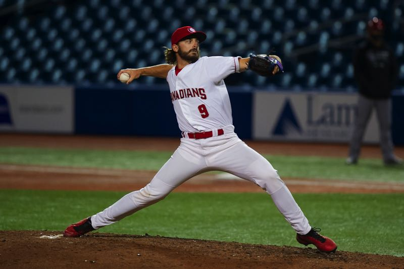 PMG FILE PHOTO: JOHN LARIVIERE - Hagen Danner, pictured in a May game, pitched the ninth inning of the Vancouver Canadians' 8-2 win over the Hillsboro Canadians on Sunday, Sept. 19.