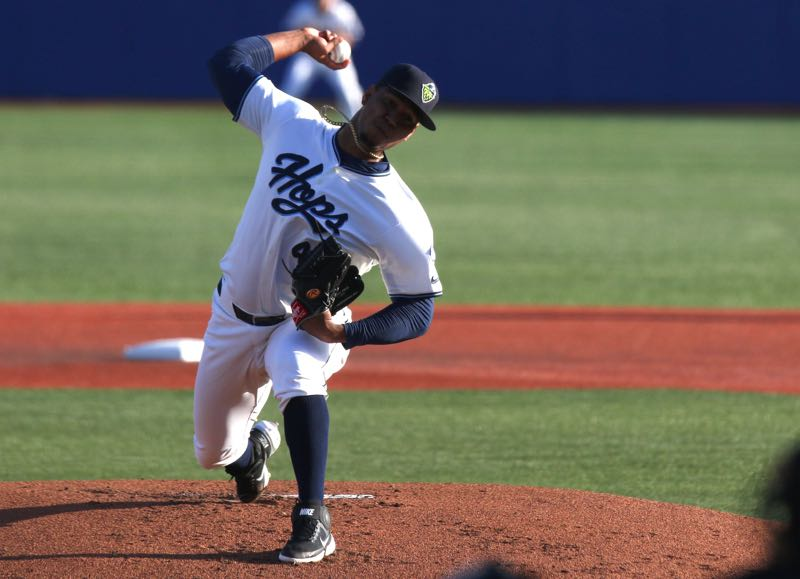 PMG FILE PHOTO - The Hillsboro Hops' Luis Frias pitches on Opening Day, May 4, 2021. As the team he started the year with played its final game of 2021, Frias made his major league debut as a reliever with the Arizona Diamondbacks.