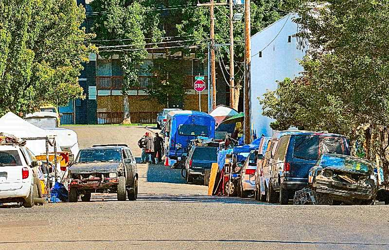 DAVID F. ASHTON - Although police do regularly check at this transient camp along S.E. Raymond Street for stolen vehicles, there is little officers can do under current Oregon law to curb car thefts.