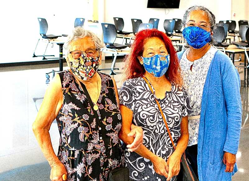 DAVID F. ASHTON - Tomiye (also known as Jeanne) Shioshi and her daughters, Judy and Carol, tour the all-new version of their grade school alma mater - now called Kellogg Middle School.