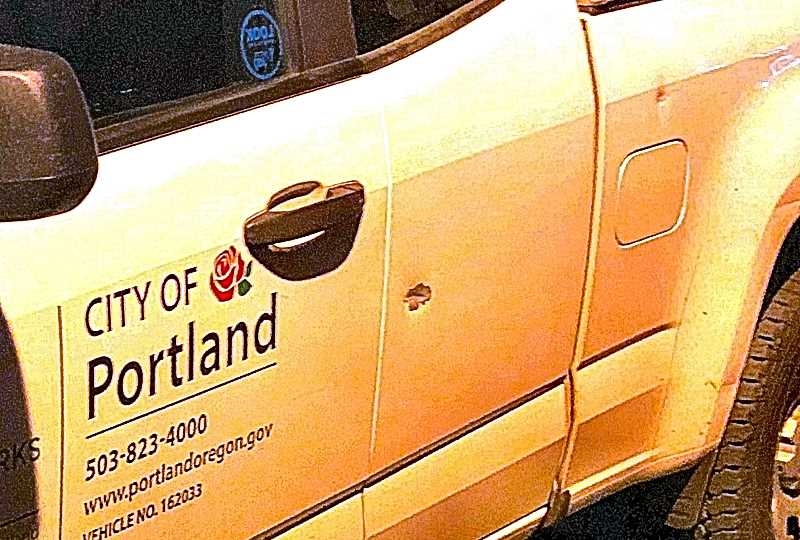 PPB PROVIDED IMAGE - This Portland Parks and Recreation truck was shot during the latest such incident near Mt. Scott Park, just north of Woodstock Boulevard. Nobody was injured.