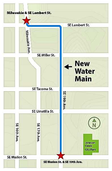 PWB-PROVIDED DIAGRAM - As soon as late 2021, construction may begin on a new water main, on the streets shown, in Sellwood.