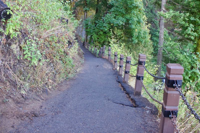 PMG PHOTO: CHRISTOPHER KEIZUR - The trail that runs to the top of Multnomah Falls from the Historic Lodge is closed for stabilization repairs.