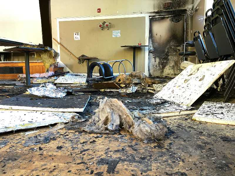 COURTESY PHOTO: BILLY WEBB ELKS LODGE - The Billy Webb Elks lodge was damaged by fire on Sept 11, 2021. The historic building is now seeking funds to restore its ballroom and reopen as a rentable venue.
