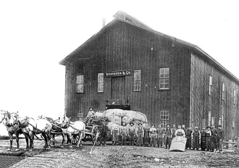COURTESY OF SMILE HISTORY COMMITTEE - Adolph, Samuel, and Louise Bissinger - along with?Louis Gerstle - founded the Bissinger Wool Pullery in?Sellwood in the early 1890s. The business was on the corner of  S.E. Marion and Grand. Wool was removed from the sheep and processed into bales, as seen loaded on the wagons in this picture. The bales were then shipped to various markets on the East Coast.