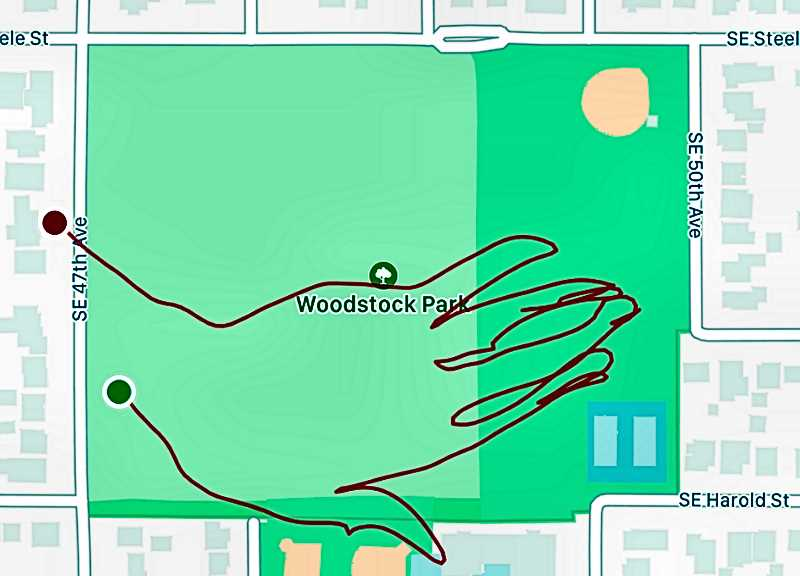 COURTESY OF SARA KIRSCHENBAUM - This hand shape of her path taken between S.E. 47th and 50th Avenues in Woodstock Park is one of several such drawings Sara created of the routes of her 500 evening runs. Using a phone app, she visualized such path drawings on her phone, as she ran.