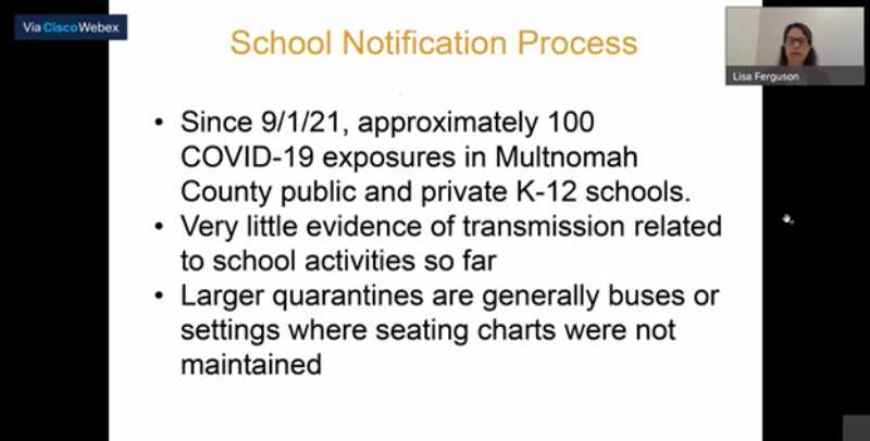 SCREENSHOT - Multnomah County Communicable Disease Manager Lida Ferguson explains the number of students who've gone to school with COVID-19 since the beginning of the 2021-22 school year during a county health briefing Tuesday, Sept.; 21.