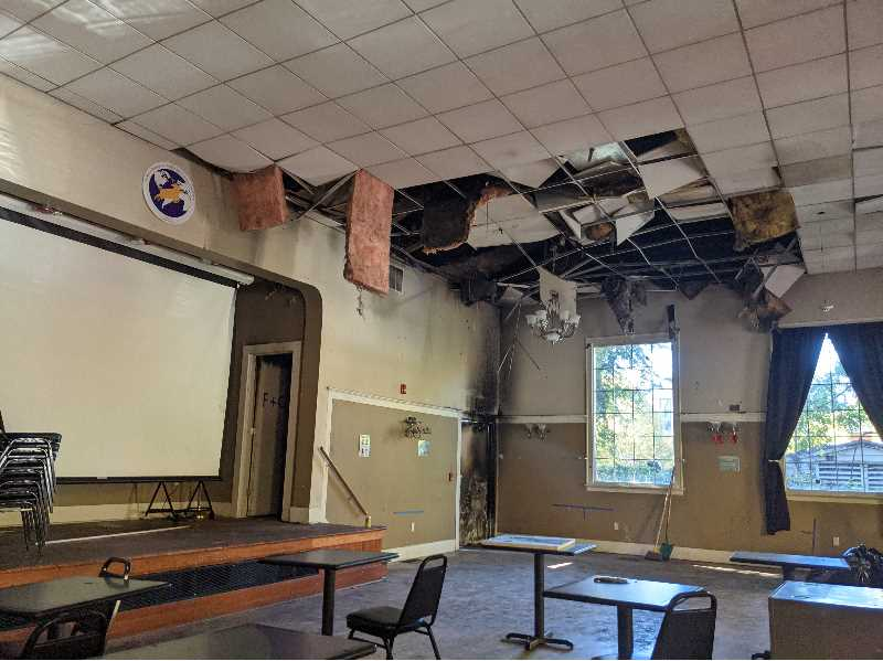 PMG PHOTO: JOSEPH GALLIVAN - Fire and water damage to the Bill Webb Elks lodge on N. Williams Ave.
