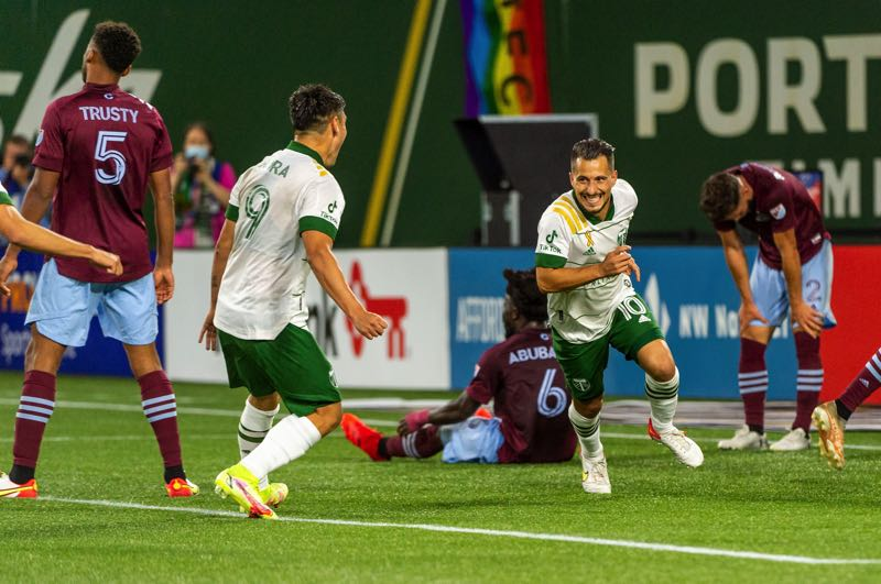 PMG PHOTO: DIEGO G. DIAZ - Sebastian Blanco (10) and Felipe Mora (9) react after Blanco's late equalizer for the Portland Timbers on Sept. 15 against the Colorado Rapids