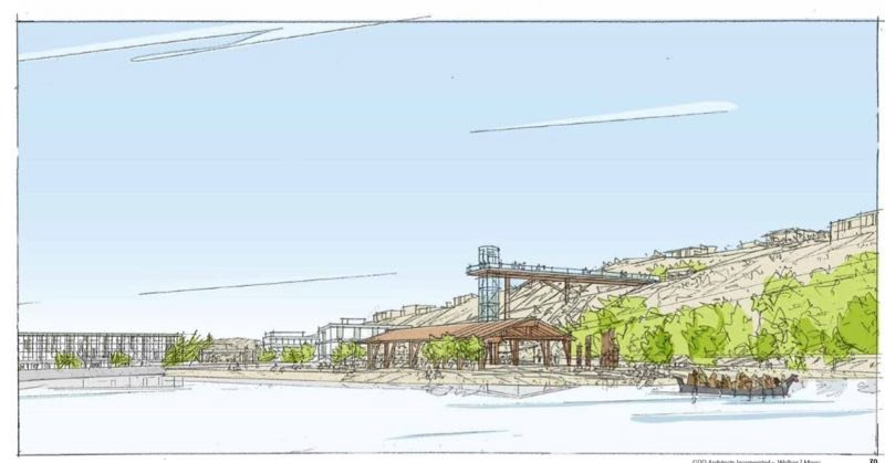 COURTESY RENDERING: GRAND RONDE TRIBE - A perspective sketch from the lagoon above Willamette Falls looks north across a section of the former paper-mill site proposed for removal and riverbank restoration.