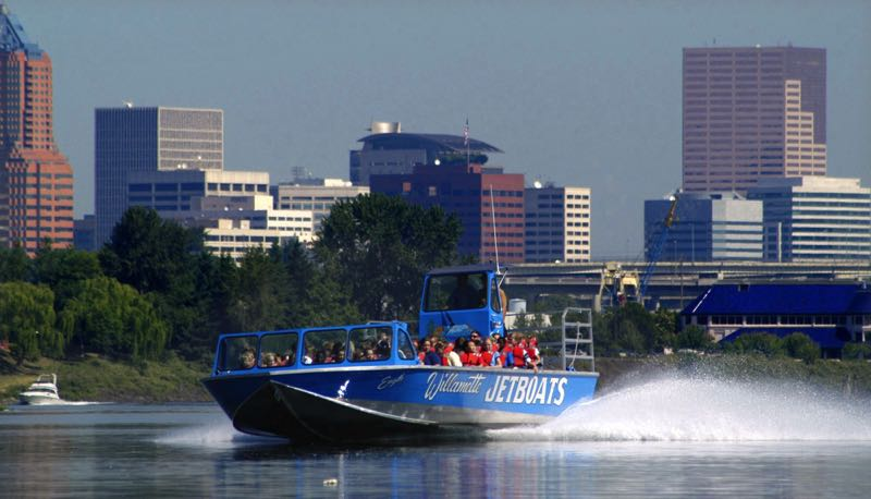 PMG FILE PHOTO - This 2004 photo shows a jetboat skimming across the Willamette River, giving a tour of the Portland waterfront.