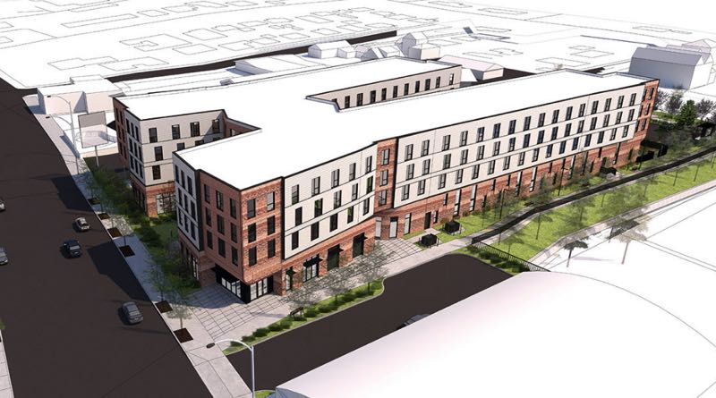 COURTESY: HOLST ARCHITECTURE - A rendering shows the plan for the x-shaped four story affordable housing apartment building planned in Southeast Portland.