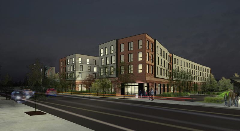 COURTESY: HOLST ARCHITECTURE - Cars whizz along Southeast Powell Boulevard in a rendering showing the plan for a new Home Forward project near Southeast 30th Avenue.