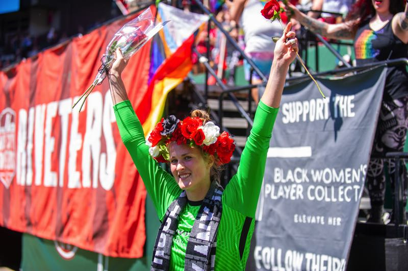 PMG PHOTO: DIEGO G. DIAZ - Bella Bixby was all smiles on July 11 during the Rose City Riveters postgame rose ceremony following her Providence Park debut. Bixby made two saves that day in a scoreless draw with Gotham FC.