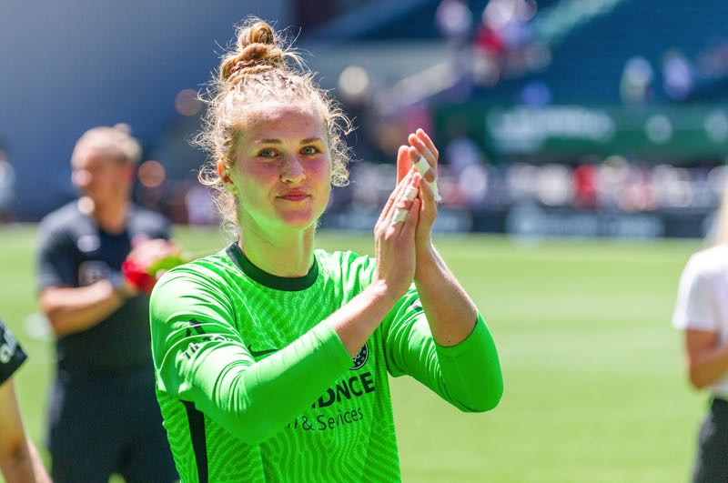 PMG PHOTO: DIEGO G. DIAZ - Bella Bixby salutes Portland Thorns fans after a match this summer. The Milwaukie native has given the Thorns and their supporters plenty to clap for this season.