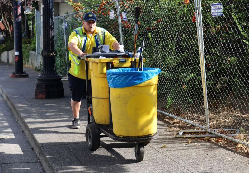 PMG FILE PHOTO - A downtwon Clean and Safe worker.