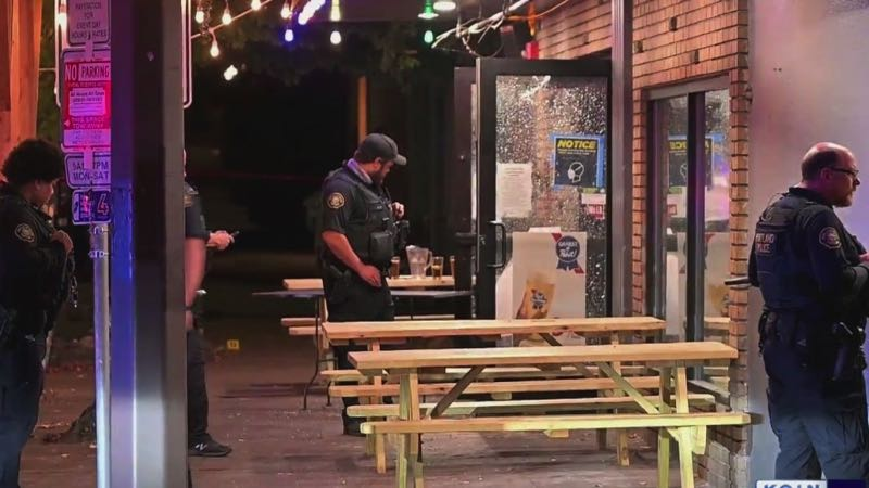 COURTESY PHOTO: KOIN 6 NEWS - The scene outside the Silver Dollar Pizza in Northwest Portland early Friday, Sept. 24.