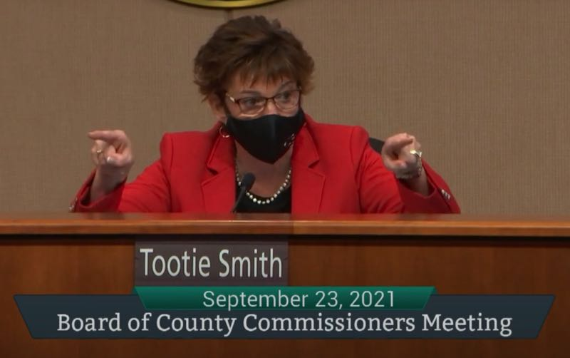PMG SCREENSHOT: CLACKAMAS COUNTY - Chair Tootie Smith reprimands Commissioners Sonya Fischer and Martha Schrader for 'digging their feet into the ground' on the vaccine resolution.