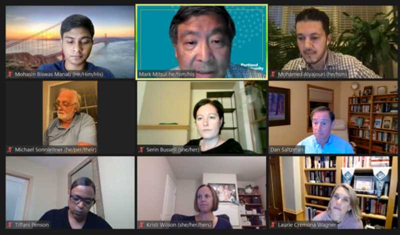 SCREENSHOT - Portland Community College board members discuss whether to implement a COVID-19 vaccination mandate for students during a Sept. 23 virtual meeting.