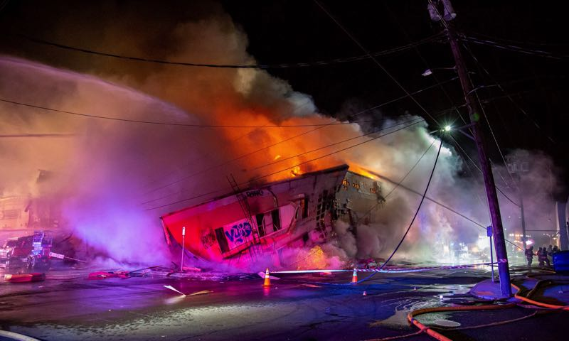 COURTESY PHOTO: PF&R - A portion of an empty warehouse collapses in Southeast Portland.