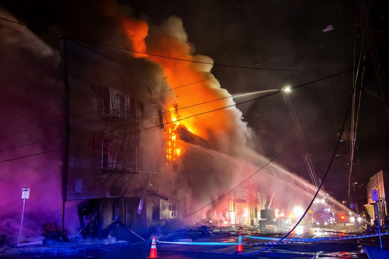 COURTESY PHOTO: PF&R - The burning warehouse before it collapsed.