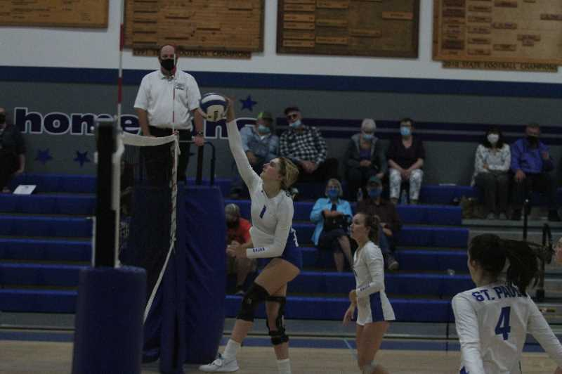 PMG PHOTO: TANNER RUSS - Junior Anabelle Davidson was instrumental in the two wins St. Paul earned on Tuesday, Sept. 21.