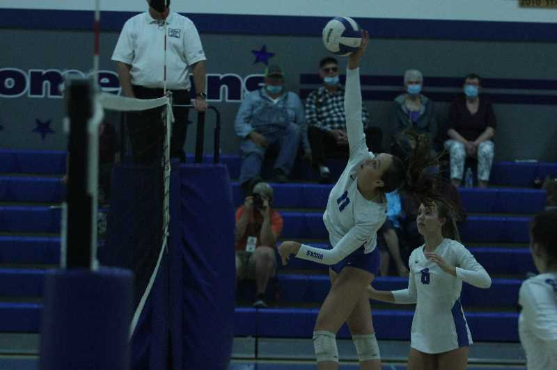 PMG PHOTO: TANNER RUSS - Sophomore Stella Koch had eight kills against the Willamette Valley Christian volleyball team on Tuesday, Sept. 21.