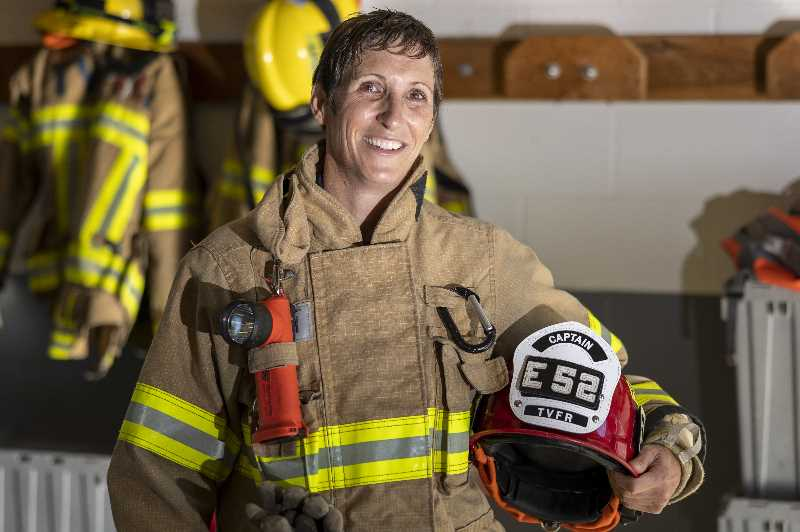 PMG PHOTO: JAIME VALDEZ - As captain, Karen Bureker is responsible for fire station and personnel management of three shifts of crews, including lieutenants, apparatus operators, firefighter and paramedics.