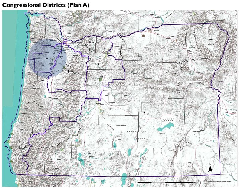 COURTESY PHOTO: OREGON STATE LEGISLATURE - A Democratic congressional map proposes to split Washington County, shed Yamhill County and add Tillamook County to create a new 6th congressional district. The plan also extends the 3rd congressional district into Central Oregon.