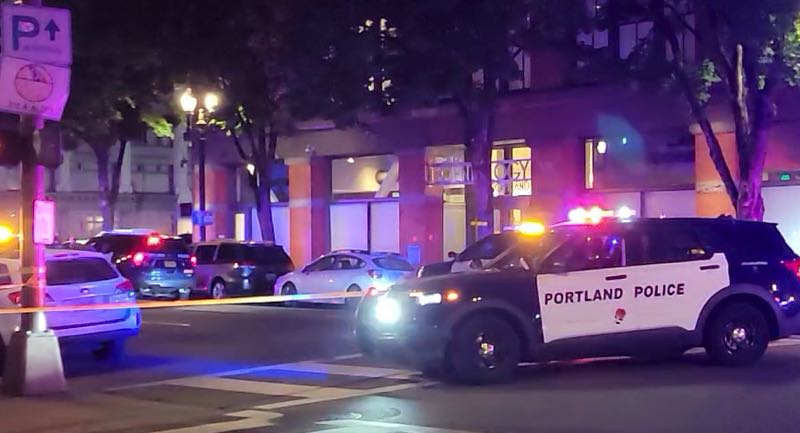 COURTESY PHOTO: KOIN 6 NEWS - The scene of the early Sunday shooting in the Lloyd District.
