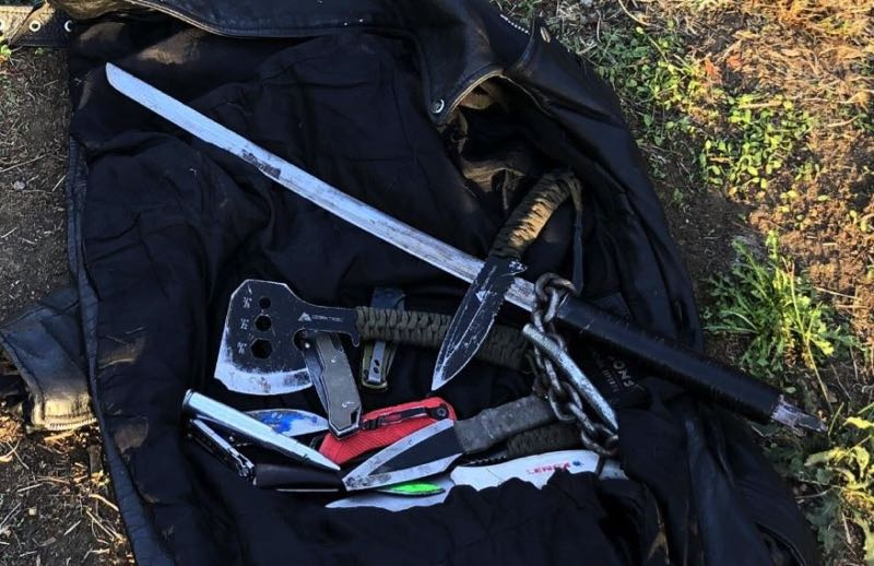 COURTESY PHOTO: PPB - Weapons seized in the Friday incident.