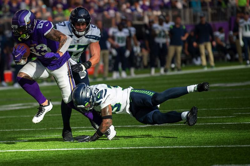 COURTESY PHOTO: MICHAEL WORKMAN - Minnesota tight end Tyler Conklin caught seven passes for 70 yards and a touchdown, helping the Vikings beat the visiting Seahawks.