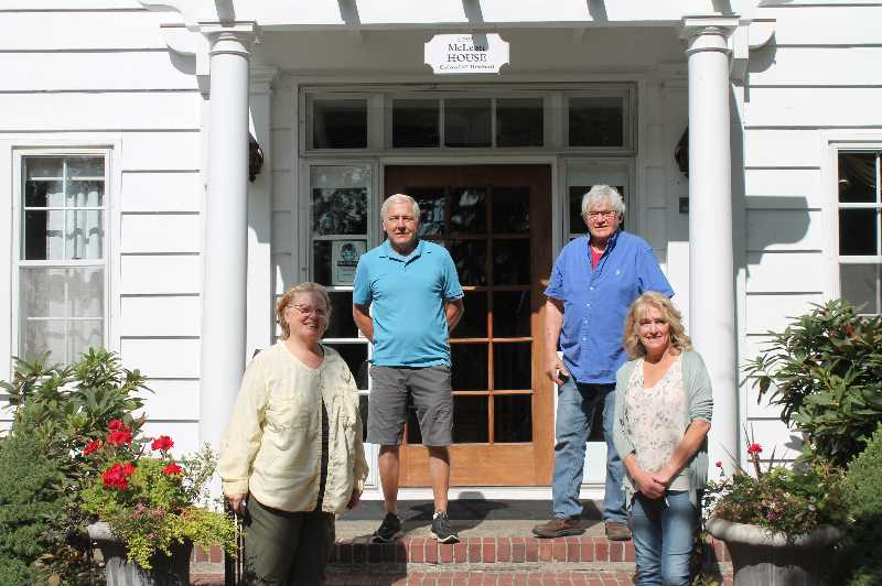 PMG PHOTO: HOLLY BARTHOLOMEW - Freinds of McLean House Secretary Elaine Spence (clockwise from bottom left), Treasurer Lonny Jochim,  Vice President Mike Watters and House General Manager  Diane Harju are part of the 40-year-old volunteer group that cares for the historic house and park.