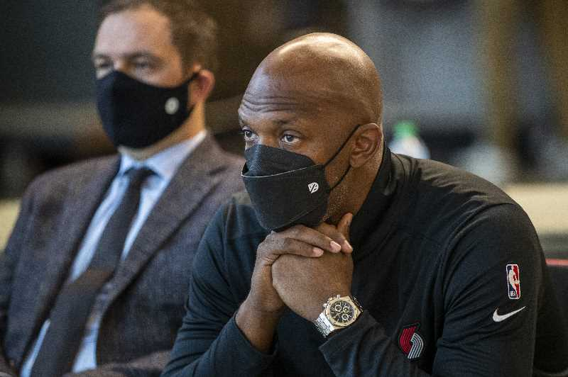 PMG PHOTO: JAIME VALDEZ - Portland Trail Blazers head coach Chauncey Billups waits for his turn at the podium during Blazers Media Day on Sept. 27, 2021, at the Moda Center.