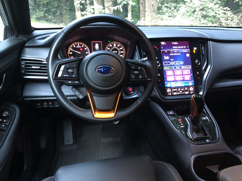 PMG PHOTO: JEFF ZURSCHMEIDE - The 2022 Subaru Outback Wilderness offers an available 11.6-inch multimedia touchscreen infotainment system with GPS navigation and an entertaining off-road inclinometer display that shows the angle of the hill you're climbing or descending.
