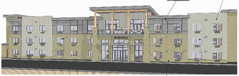 COURTESY IMAGE: RICH AND SANDY PRIDAY   - The Bunkhouse design will feature natural materials of wood, stone and metal. Rich and Sandy Priday expect to break ground on the hotel in late October and hope to open for business a year later. Plans call for the hotel to be 50 rooms, and it will be built north of the Priday's Inn at Cross Keys Station hotel on the north end of Madras.