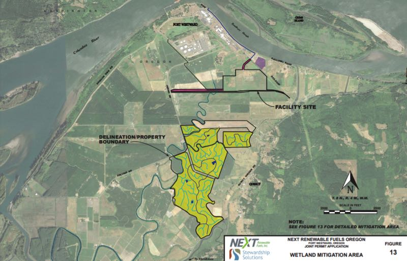 COURTESY - A map included in NEXT Renewable Fuels application to the Department of State Lands shows the planned wetland mitigation site.