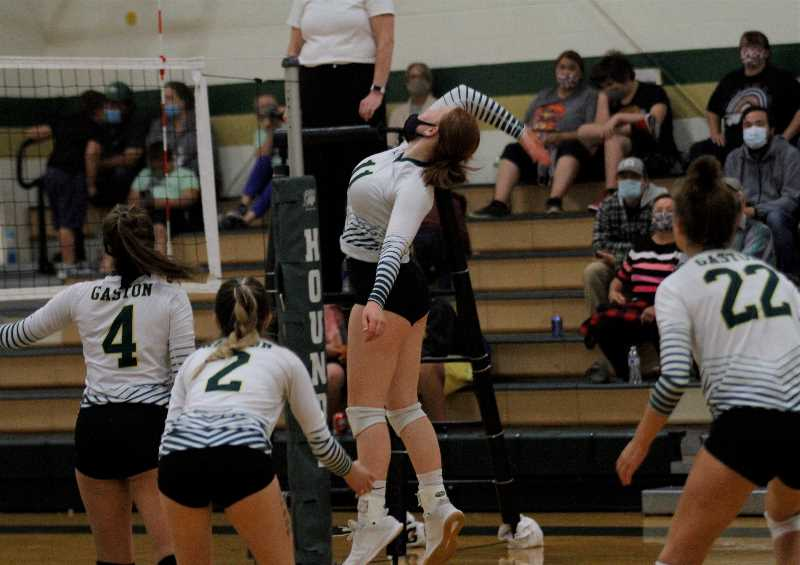 PMG PHOTO: WADE EVANSON - Gaston junior outside hitter Maya Rosenberg eyes a spike during the Greyhounds' win over Vernonia Tuesday, Sept. 28, at Gaston High School.