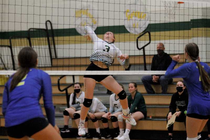 PMG PHOTO: WADE EVANSON - Gaston junior outside hitter Ally Lazott soars for a kill during the Greyhounds' win over Vernonia Tuesday, Sept. 28, at Gaston High School.