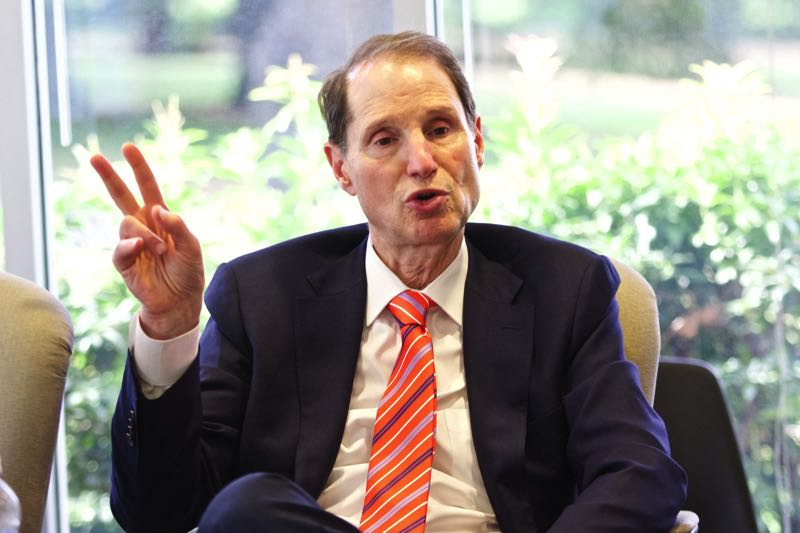 FILE - United States Senator Ron Wyden speaks with reporters in 2015.