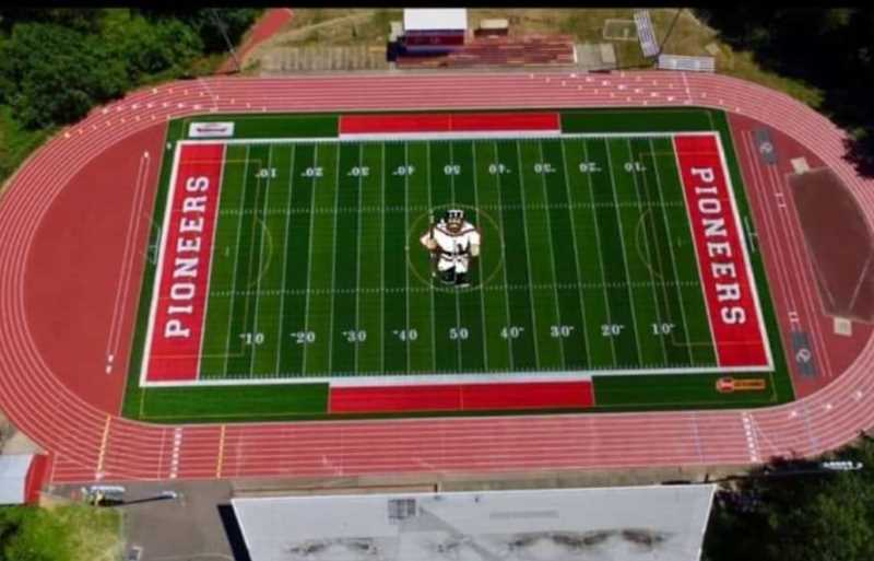 Pioneer Pete's image on the field looks familiar to Oregon City residents when viewed directly from above.
