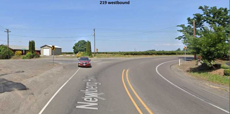 COURTESY PHOTO: CITY OF WOODBURN - The often awkward intersection of Butteville Road and Newberg Highway 219 will be reworked, moving Butteville Road to the east and installing a roundabout to ensure fluid traffic flow as part of the Amazon fulfillment center construction.