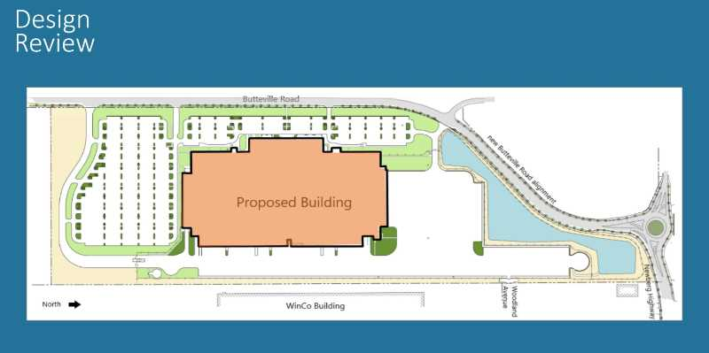 COURTESY PHOTO: CITY OF WOODBURN - Amazons new 5-story, 3.85 million square foot facility in west Woodburn will realign Butteville road, install a roundabout, feature four driveways in and out and will provide a canopy of trees and other shrubbery adorning the roadway.